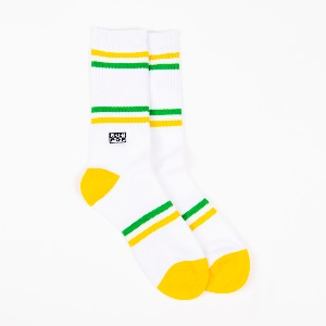 Sub Pop/ White With Yellow And Green Logo Socks(2-3일 내 배송 가능)
